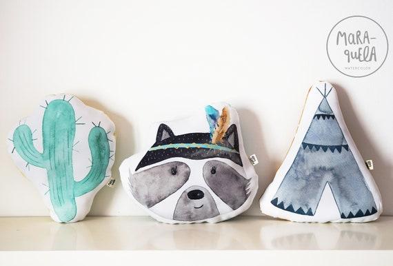 SET Cojines: Mapache, cactus y Tipi / Cushions SET, Cactus, Raccoon, Tepee