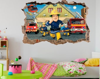 Fireman Sam 3D Smashed Wall Decal Wall Sticker