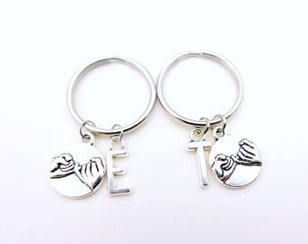 Best friend keychains, Pinky Promise Keychains,  Pinky Swear Keychain,   Custom Keychain