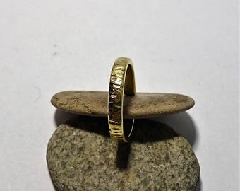 Striped hammered groovy stackable adjustable boho ring- simple and minimalist textured