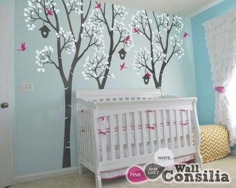 """Nursery Trees Wall Decals Birdhouse Trees Decal Decoration Tree Wall Mural Sticker Wall Art Decor  - Large:96"""" x 100"""" - KC027"""