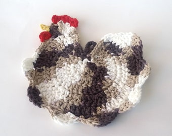 Chicken Cotton Hot Pad, Crochet Chicken Kitchen Potholder, Brown, Tan, and White Chicken