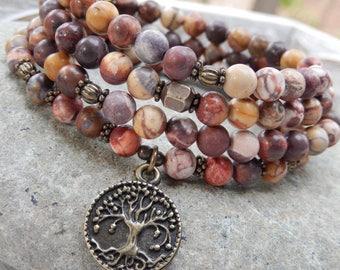 Change & Progress Mala, Yoga Wrap Bracelet, Meditation Necklace, 108 Prayer Beads, OM, Hamsa, Tree of Life, Crystal Healing, Reiki infused