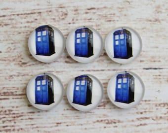 10pcs 12mm Handmade Photo Glass Cabochon TARDIS Doctor Who566-12
