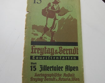 1960 Vintage Map Zillertaler Alpen Austria