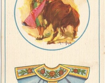 Mexican Bullfighter Light Robin Egg Blue Cape with Red Roses Artist Signed C. Ruano Llojuis Vintage Postcard