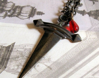 Dagger Necklace, Goth Necklace, Teen Necklace, Custom Sized