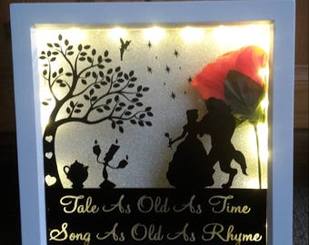 Beauty And The Beast Disney 'Tale As Old As Time, Song As Old As Rhyme' Box Frame VALENTINES WEDDING