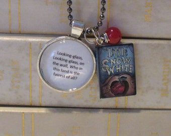 Book Nook Necklace, Snow White Necklace, Quote Necklace, Literature Necklace, Antique Silver Necklace, Fairytale Necklace, MarjorieMae