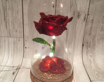 Beauty and the beast rose  inspired Led light up enchanted rose  glitter