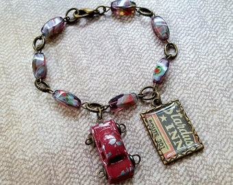 """Road Trip Ready! Brass Beaded 8"""" Bracelet, Custom Stardust Inn Route 301 Vintage Ad Charm and Industrial Chic Retro Red Car & Lobster Clasp"""