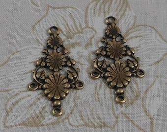 Oxidized Brass Filigree Ornate Floral Pendant (Qty 2) 34x17mm S-5904-B
