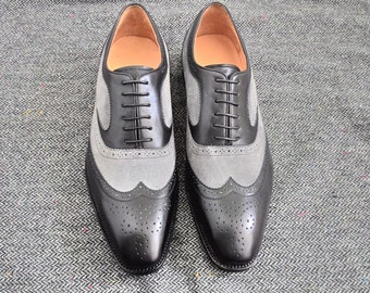Hand made two tone wingtip black calfskin and grey suede leather oxford shoes