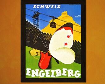 Engelberg Switzerland Travel Print - Vintage Travel Poster Switzerland Poster Art Reproduction Home Decor  t