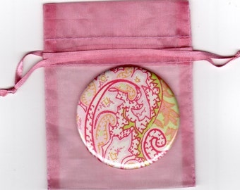 Pink paisley pocket mirror with organza bag