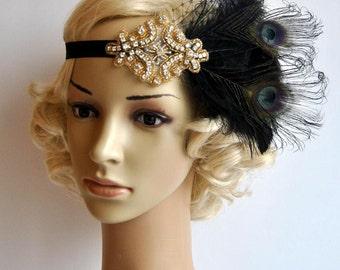 Black gold Flapper Feather Great Gatsby headpiece 1920s Flapper rhinestone Headband, Vintage Inspired Art Deco headband