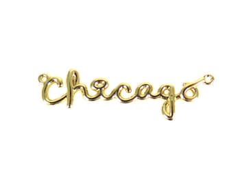 Gold Plated Chicago Wire Name Pendant (1X) (K621-C)