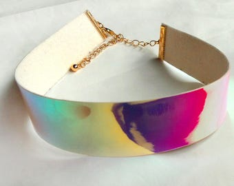 Holographic choker necklace iridescent rainbow mirror PU leather