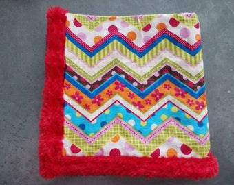 Minky Snug-A-Long .. Small Security Blanket .. Baby Lovey Blankie Snuggie .. Snuggle Soft Flannel Minky .. Multi colored Chevron .. Baby