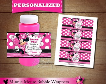 Bubble Wrappers, Minnie Mouse Bubble Wraps, Goodie Bag Stuffer, Treat Bag Stuffer, Personalized Minnie Mouse Wrapper, DIY, Printable