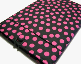 "11"" HP Chromebook case, Lenovo IdeaPad case, Acer Chromebook 11"" sleeve, 11"" Laptop sleeve, Computer Case, Black & Pink Polka Dots"