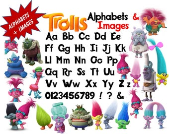 Full Alphabet + 21 TROLLS Clipart Images  300 DPI Transparent Background True Type Font Scrapbooking, Stickers, Party, Printing,Banners