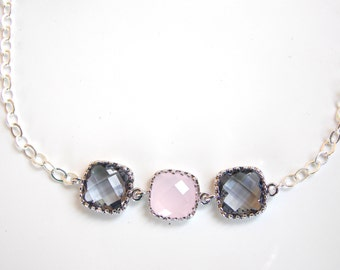 Wedding Jewelry, Grey and Ice Pink Bracelet, Charcoal, Gray, Sterling Silver, Bridesmaid Jewelry,Bridesmaid Bracelet,Bridesmaids Gift,