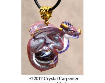 Amethyst Royal Snarl - Collectible Dragon Art Ornament Necklace