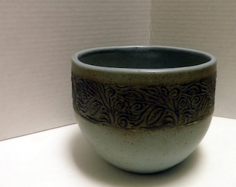 handmade Stoneware Cache Pot, Earthy Blue and brown, OOAK