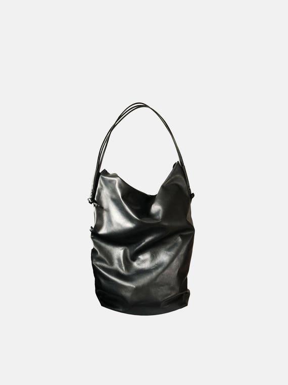 Black leather handbag big pouch handbag black gift for women