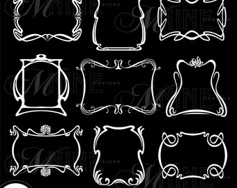 White ART NOUVEAU FRAMES Digital Clipart, Instant Download, Vintage Design Elements Antique Borders Clip Art