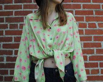 Vintage Shirt, Green, Sag Harbor, Long Sleeve, Floral, XL, XXL, Oversized, Pink, Vintage Clothing, 90's Clothing, Retro Clothing, Long