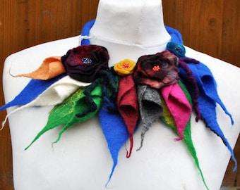 Beautiful necklace - scarf, nuno felt, felt, silk, wool, collar