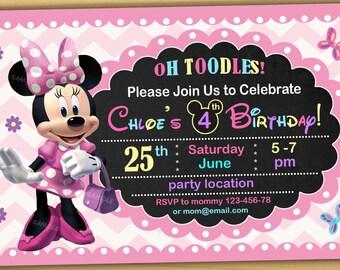 SALE Minnie mouse Birthday Invitation, Minnie mouse Invitation, Minnie mouse chalkboard invitation, new 6- Digital file