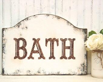 BATH sign, bathroom decor, powder room sign, wooden bathroom sign, weathered bath sign, spa sign, rustic bath sign