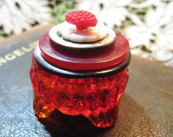Sweet Heart Trinket Box/ Vintage Red Glass Salt Dish with Stacked Button Lid/ Glass/ Bakelite/ Mother of Pearl Buttons/ Ring Box/ Jewelry