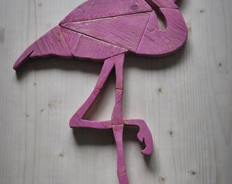Wooden Flamingo Sign