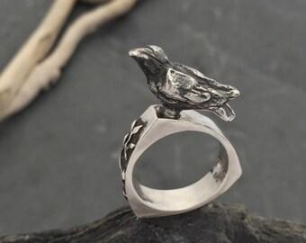 Raven crow ring sterling silver 'Edgar'