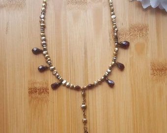 Pearl, Garnet and Labradorite Necklace, Pearl Necklace, Labradorite Pendant, Bohemian Bridal Jewelry, Garnet Necklace, Gemstone Necklace