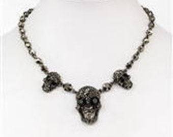 Skull Rhinestone Necklace with Gunmetal Chain