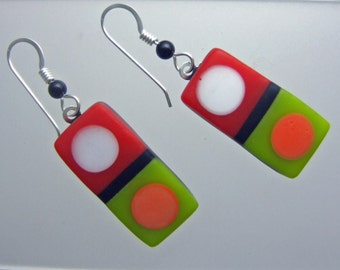 Citrus Tic Tac Earrings,  Fused Glass Jewelry Handmade in North Carolina