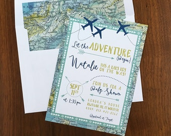 Travel Theme Baby Shower Invitation - Map Adventure Invites - Airplane Invitation - Adventure Awaits Printed Invitations - Digital File Only