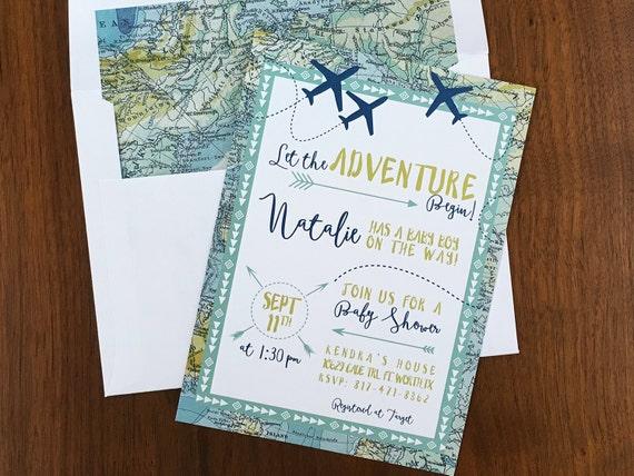 Adventure Maps Baby Shower Invite Airplane Baby Shower