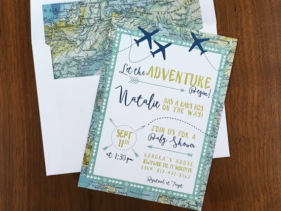 Adventure Maps Baby Shower Invite Airplanes U0026 Travel Theme