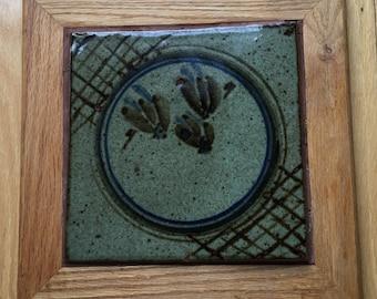 Large 13 X 13 inch handcrafted oak framed ceramic trivet. 4 Hand painted ceramic tiles framed in oak. Wall decor or large kitchen pot stand.
