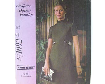 1970 Vintage Sewing Pattern - McCall's Designers N/ 1092 Mollie Parnis Mod Mini-Dress Back Belt and Stand Up Collar / Size 10 UNCUT FF
