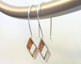 Golden Rhombus Earrings, Vintage Gold Brass Diamond, Geometric, Soldered Sterling Silver Ear Wires, Mixed Metals