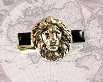 Antique Sterling Silver Lion Head Tie Clip Inlaid in Hand Painted Glossy Black Enamel Neo Victorian Safari Vintage Style Leo