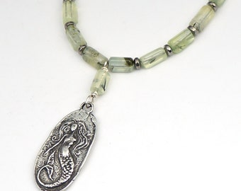 Green mermaid necklace with semiprecious prehnite beads, 20 inches long