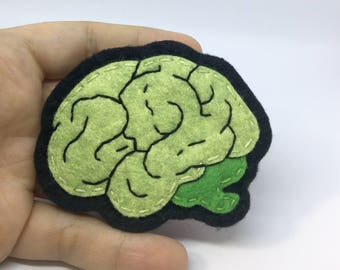 Hand Sewn and Embroidered Wool Felt Zombie Brain Pin